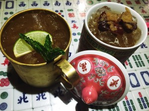 Enjoy a drink at the mahjong-tile bar
