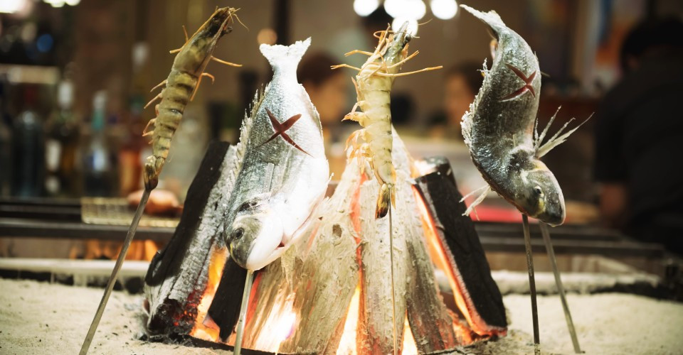 Fresh Fish and Tiger Shrimp on Binchotan Grill (1)