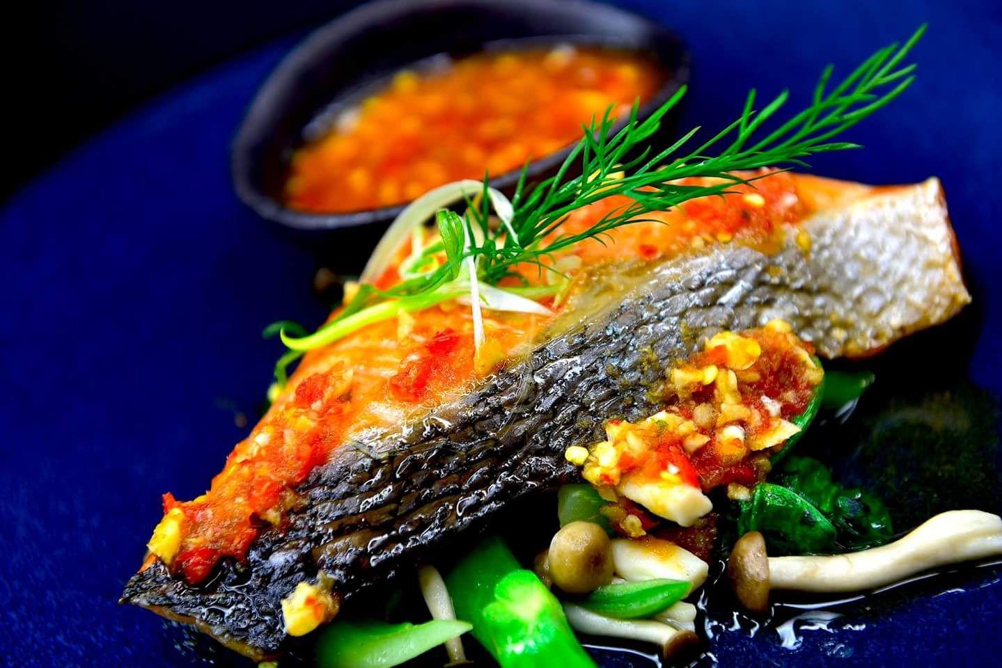 Silken salmon in chili lime jus at Namo.