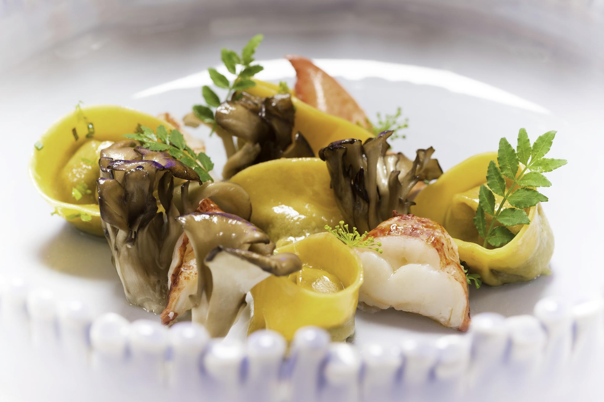 The Ocean - Wild mushroom tortellini, lobster confit, maitake, bisque