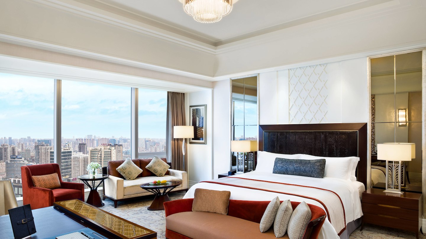 A guest room at the St Regis Chengdu.