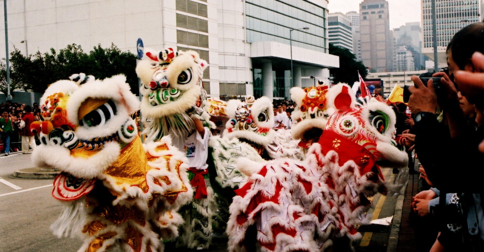 Hong Kong Lion Dance. Chinese New Year. Photo: Maureen Didde/Flickr CC