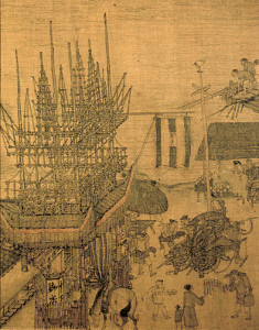 "A bamboo scaffolding structure in the painting ""Along the River During the Qingming Festival."" Photo: Wikipedia"