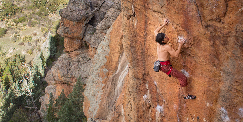 Chan crack climbing in Australia.