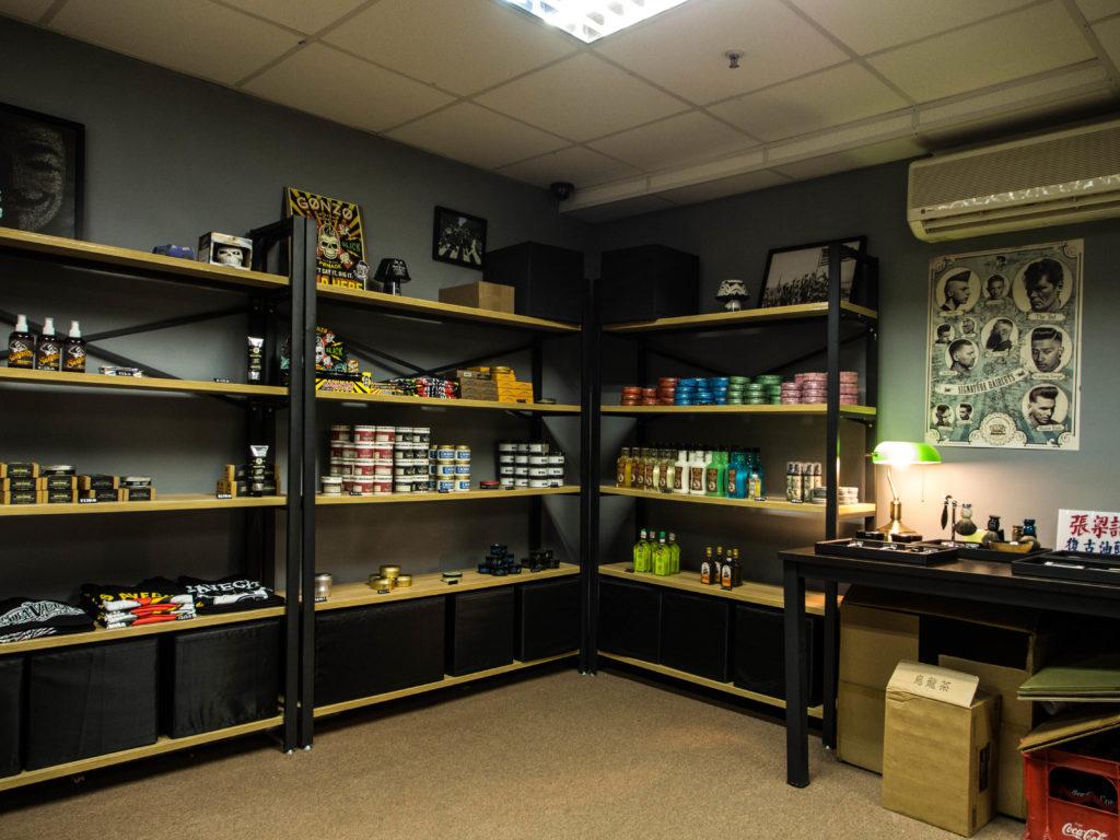 Pomade shelves at Cheung Leung Kee. Photo: Joseph Lam