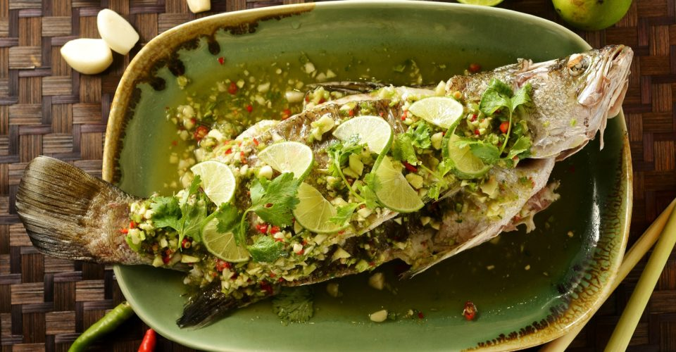 Steamed seabass with spicy lime sauce at Apinara