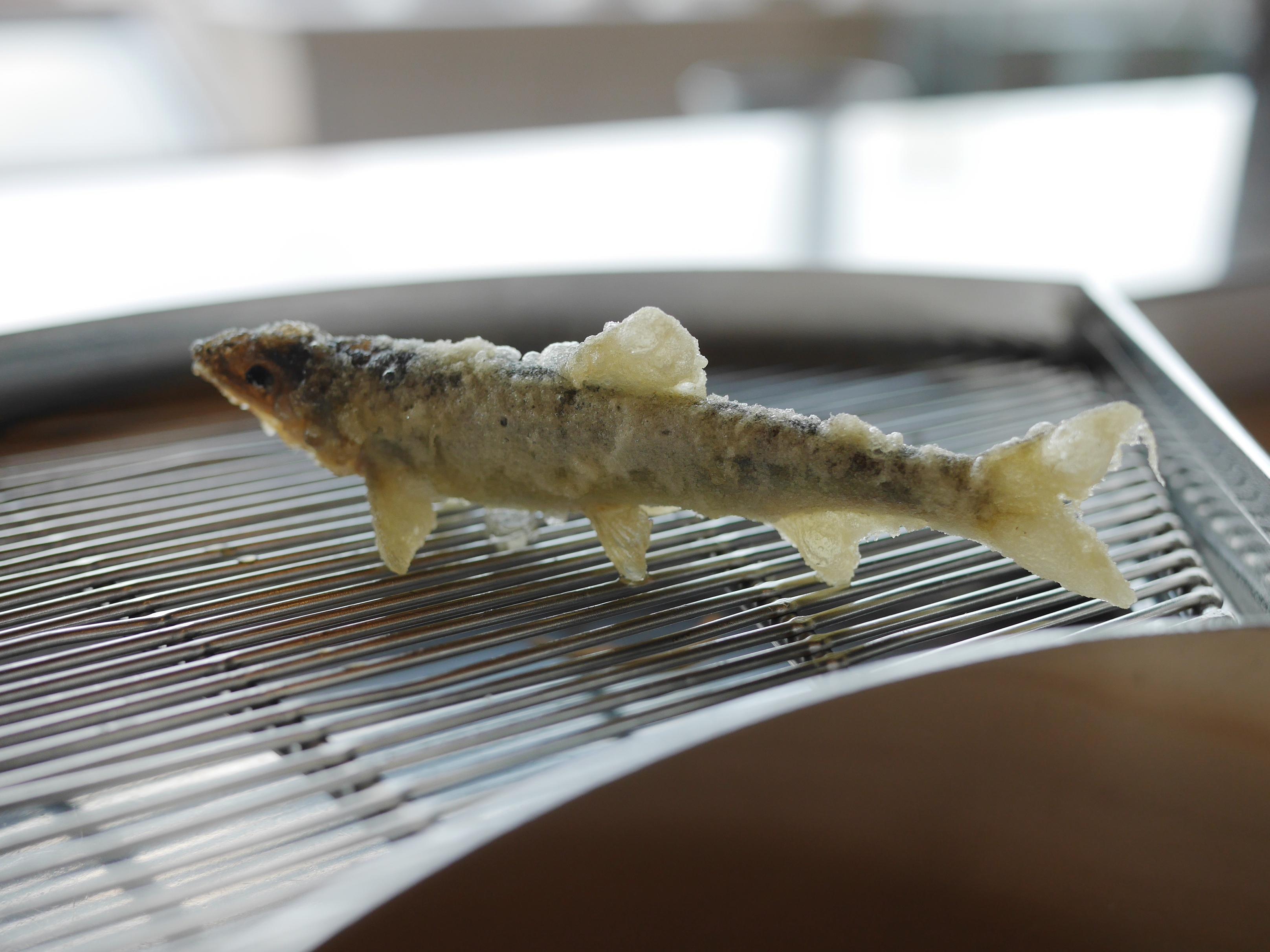 Delicate fish tempura skillfully deep-fried by chef at Tempura Yamanoue