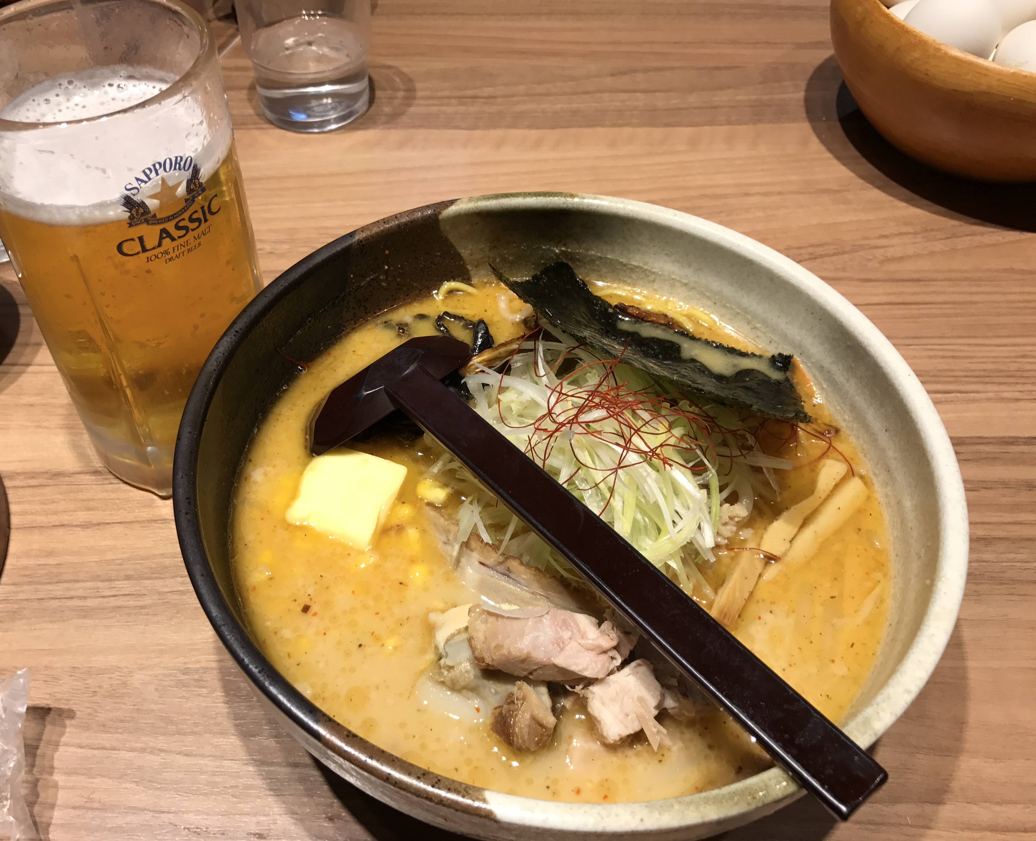 Delicious ramen at Shirakaba-Sansou in Chitose Airport Photo: Johana Shobu