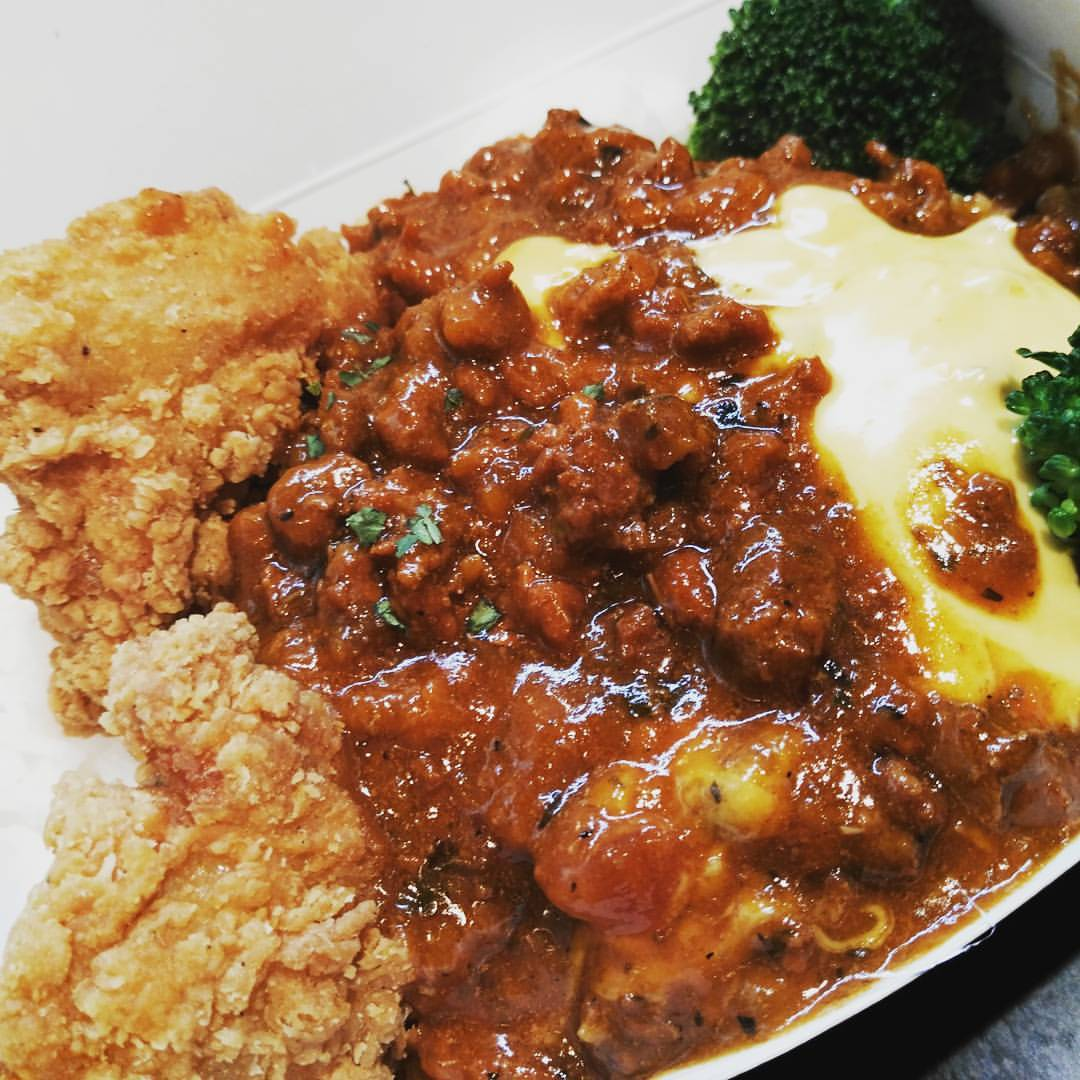 Stuff in a Cup's Fried Chicken Cheesy Bolognese with Rice
