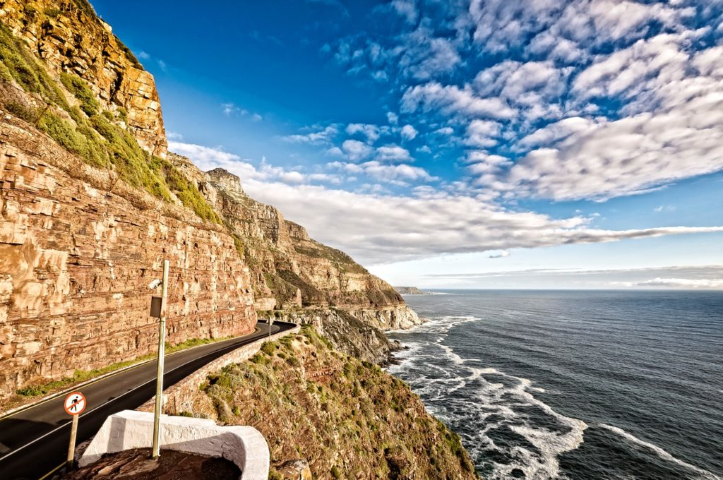 Driving through Chapman's Peak on the way to Robben Island