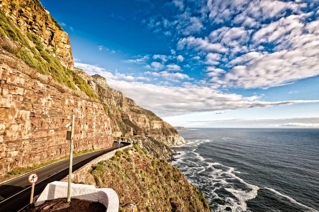 Driving through Chapman's Peak on the way to Robben Island