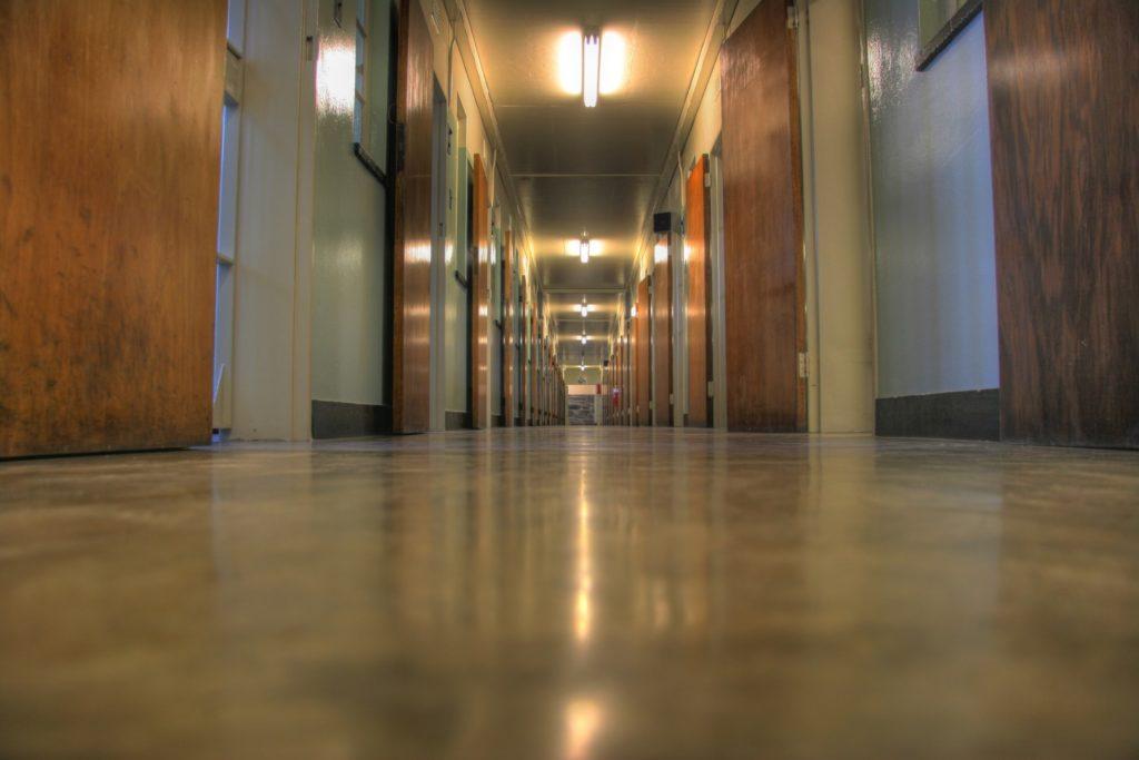 Corridor leading to prison cells at Robben Island prison