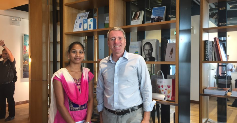 Room to Read founder John Wood with RTR's Girls' Education Sri Lanka alumna, Thirumagal