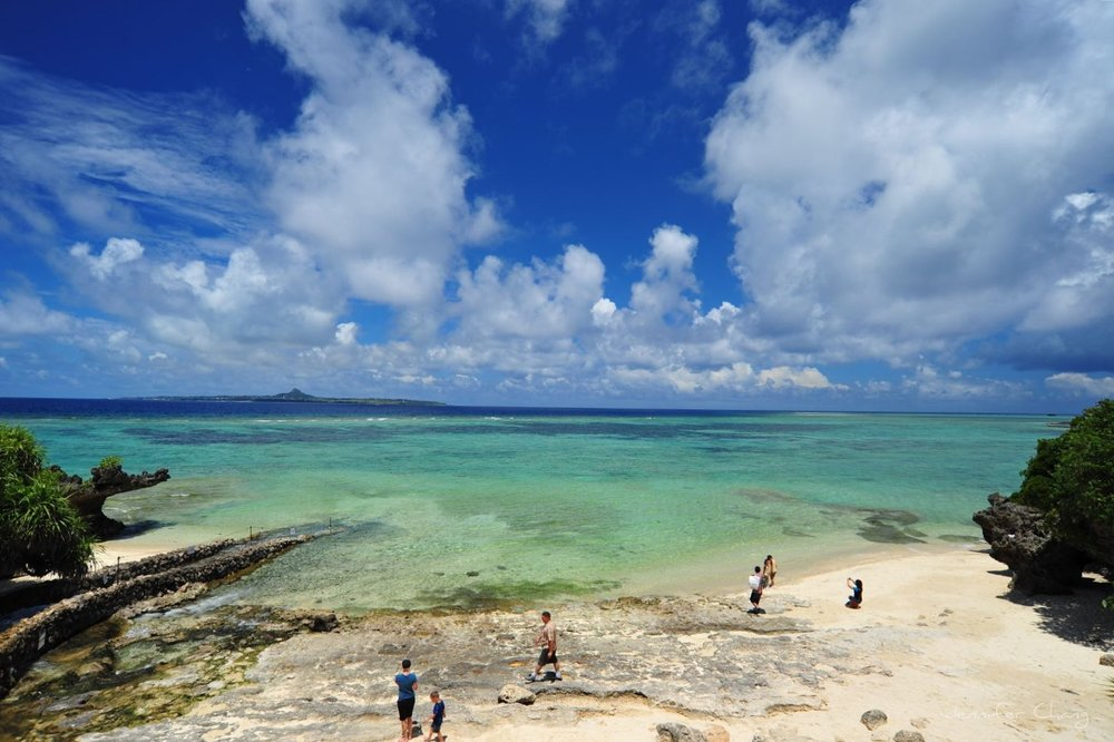 A tranquil beach scene on Okinawa.