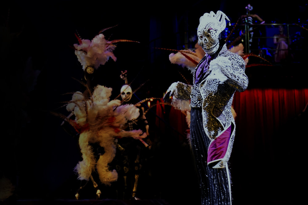 The Crooner, wearing Kooza's most expensive costume, onstage during a performance. Photo: Gayatri Bhaumik