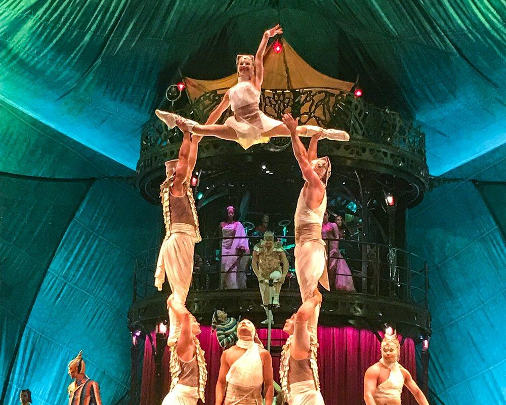 Laura Kmetko [top] in action during a performance of Kooza. Photo: Gayatri Bhaumik