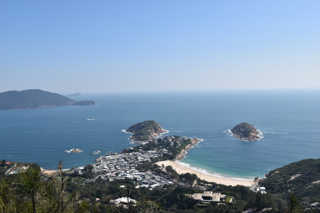 Views over Big Wave Bay from Dragon's Back hiking trail.