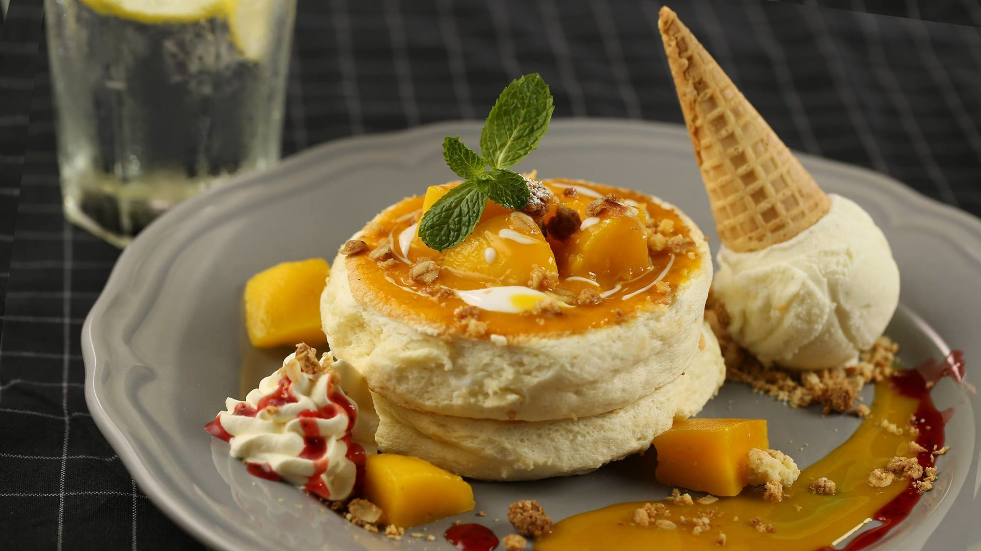 The Pantry's best souffle pancake, the mango and coconut.