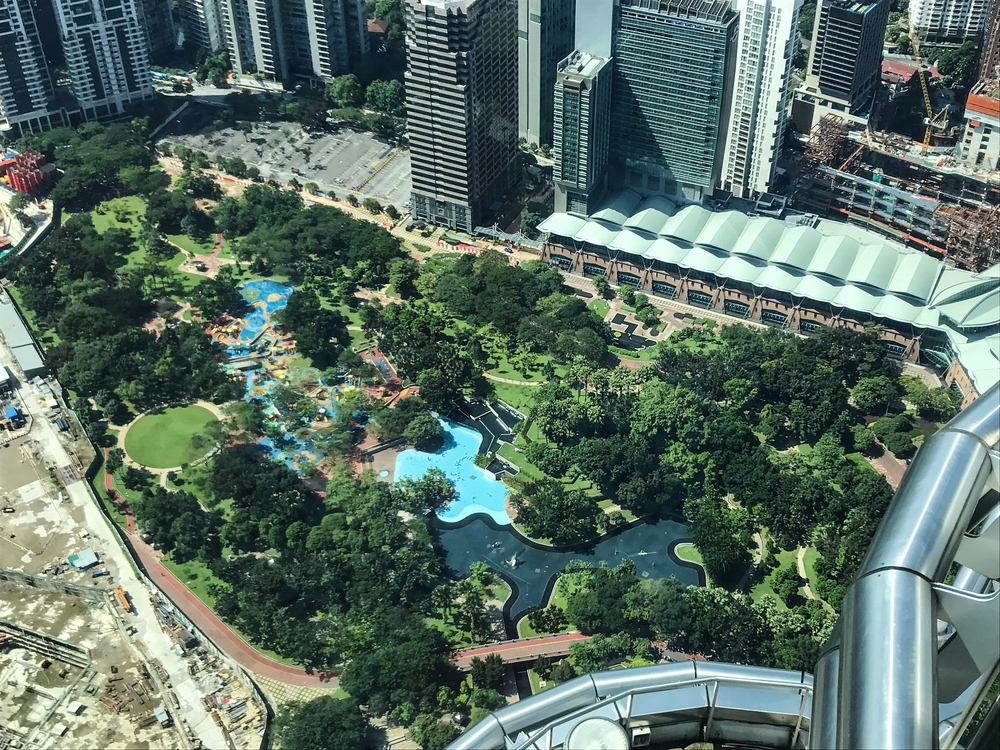 An aerial view of KLCC Park from the Petronas Twin Towers. Photo: Gayatri Bhaumik