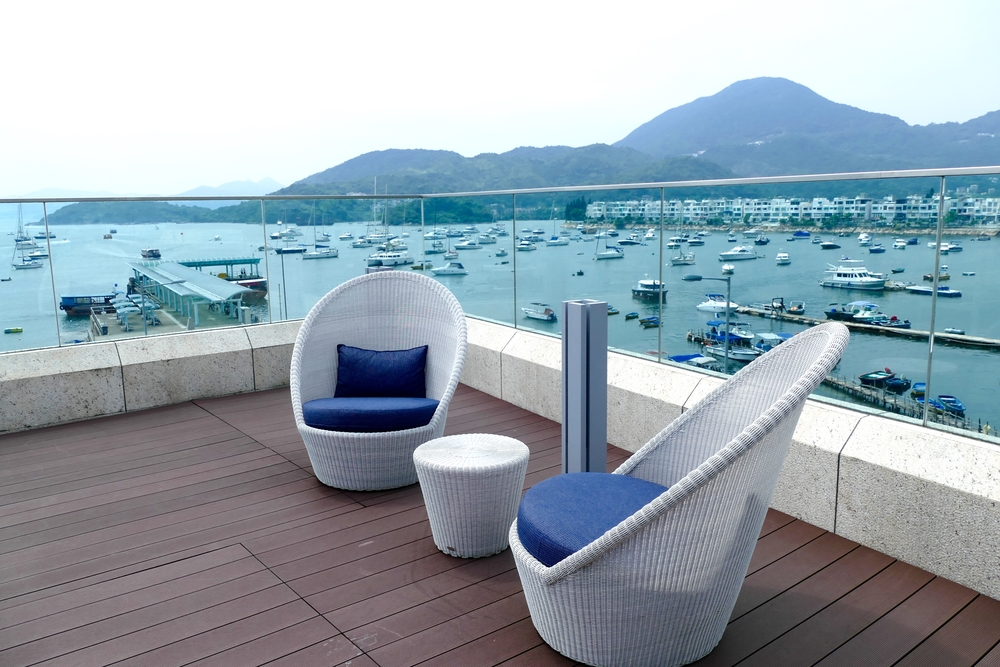 The outdoor terrace at The Pier, one of the newest options for a Hong Kong staycation. Photo: Nicole Slater