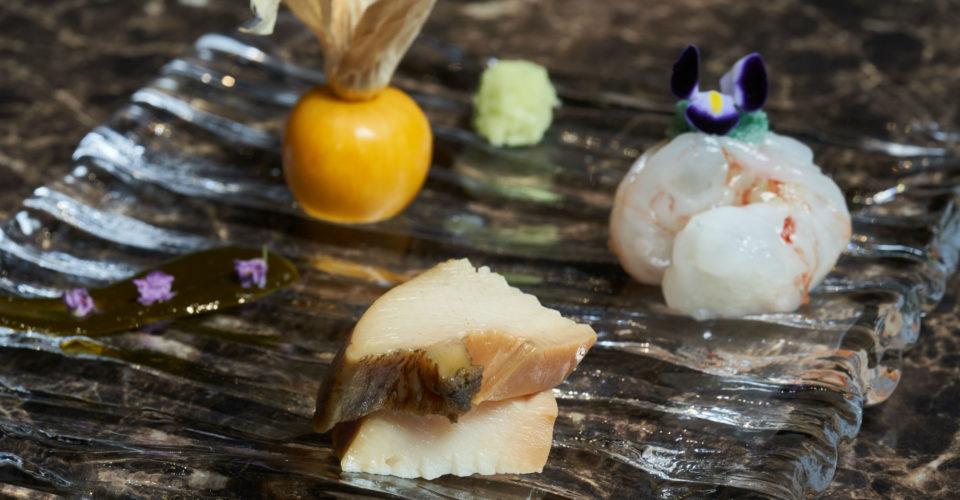 02-Seasonal-Sashimi-Chiba-Abalone-and-Botan-Shrimp