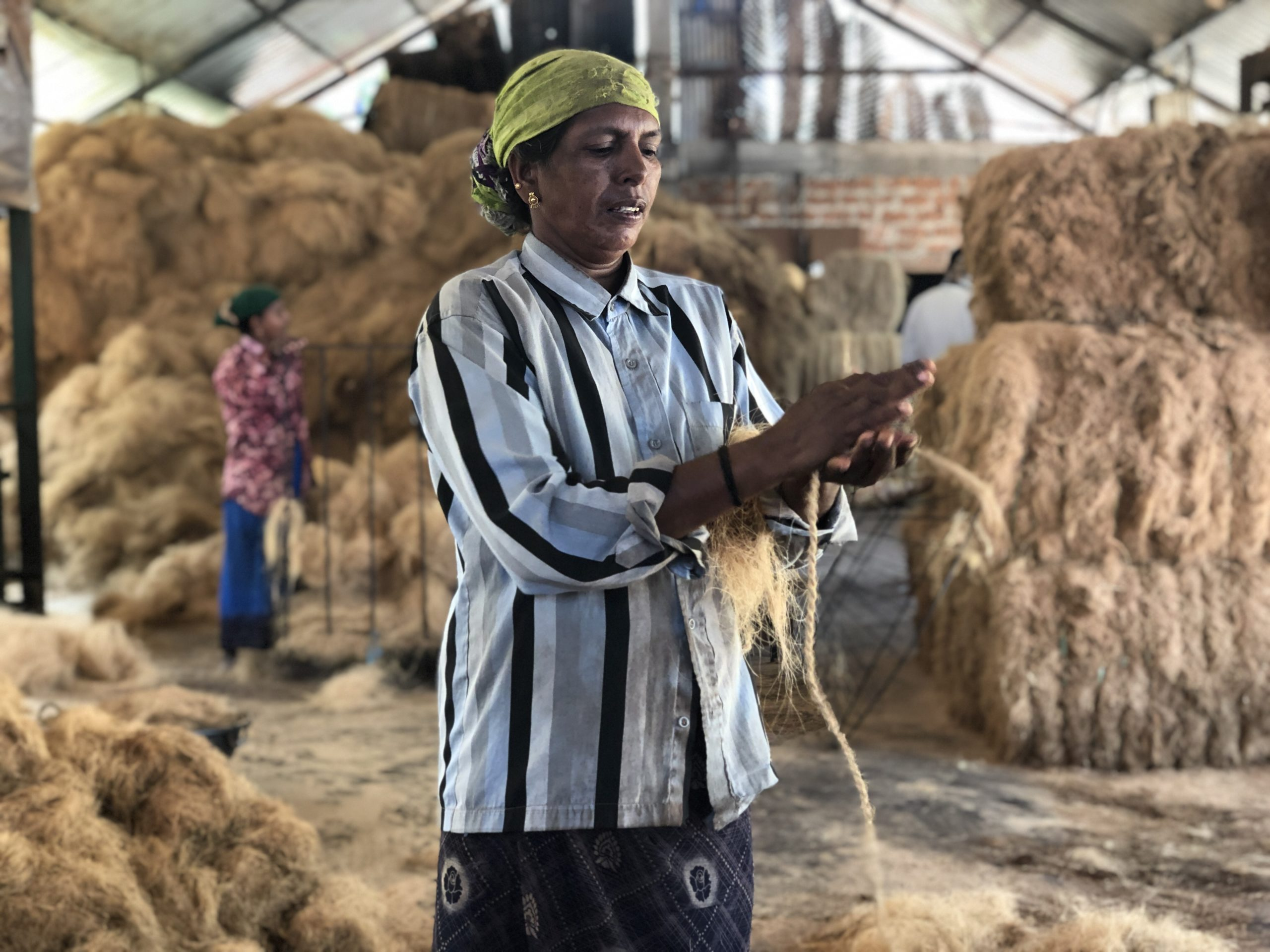 A visit to a coir factory is part of the experience on the Lotus Houseboat
