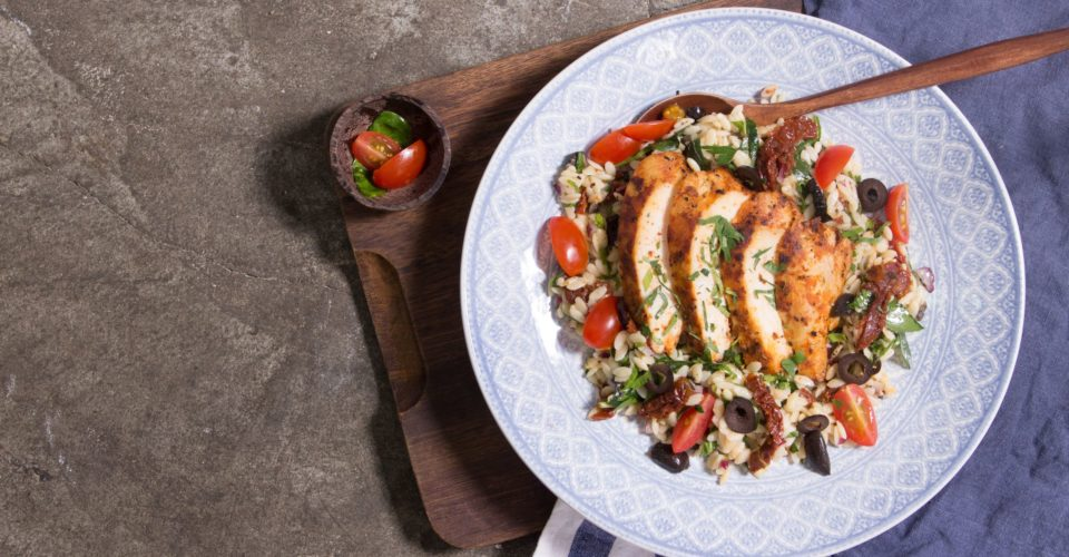 Seared Free Range Chicken With Sun Dried Tomatoes, Basil, Parmesan Orzo