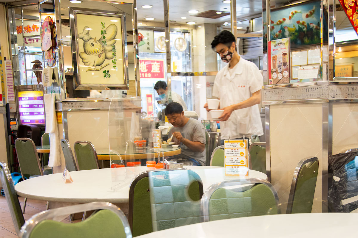 Kam Ka Lok uses plastic partitions to separate diners from each other