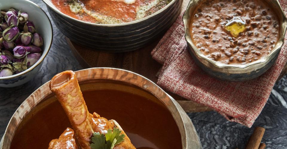 OLD DELHI BUTTER CHICKEN Spiced Tomato Sauce,Mustard,Fenugreek + DAL MAKHANI Slow Cooked Black Lentil +HYDERABADI LAMB SHANK Caramelised Onion,Green Car