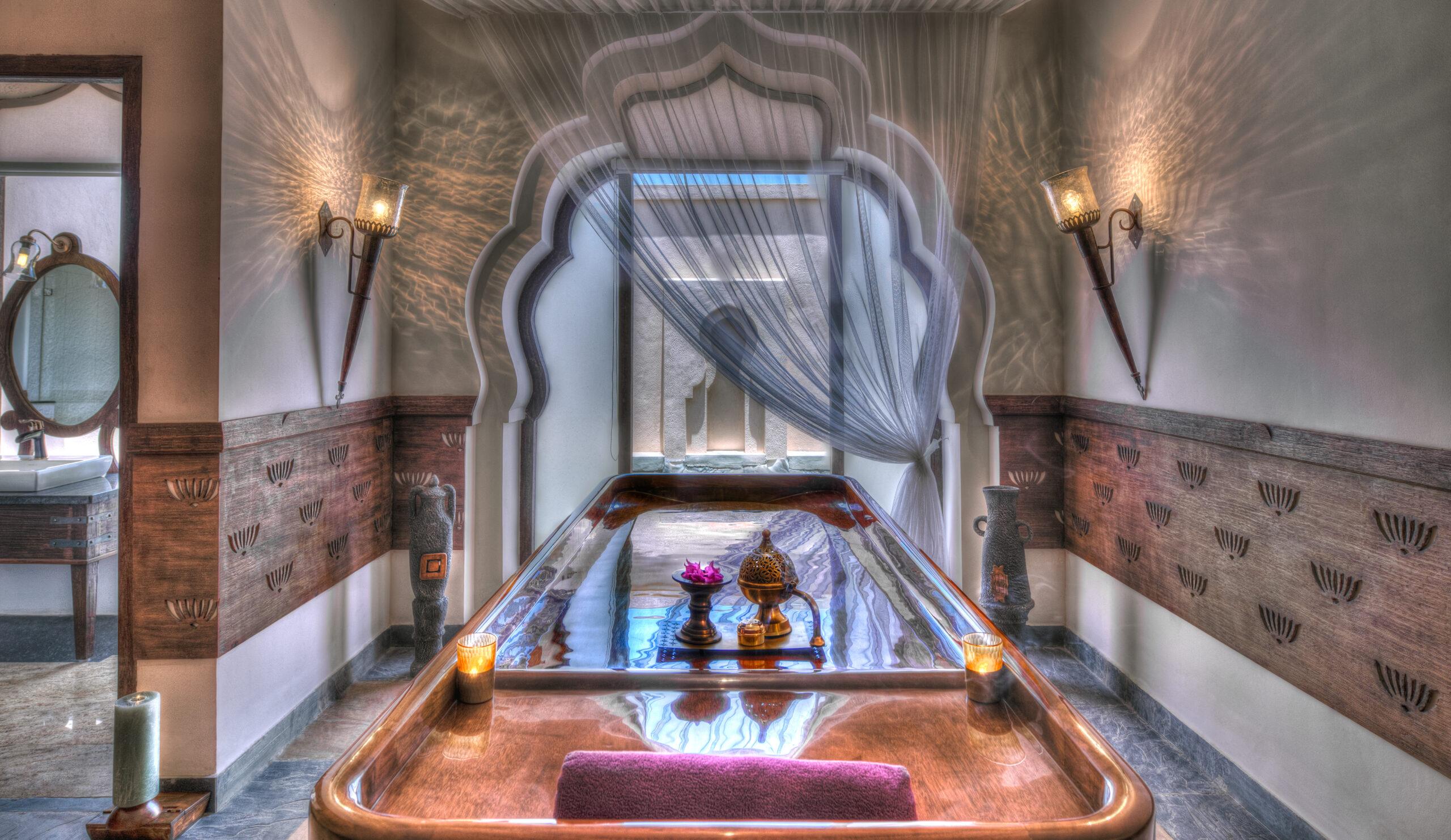 room at Vaidyasala spa at evolve back kamalapuna palace