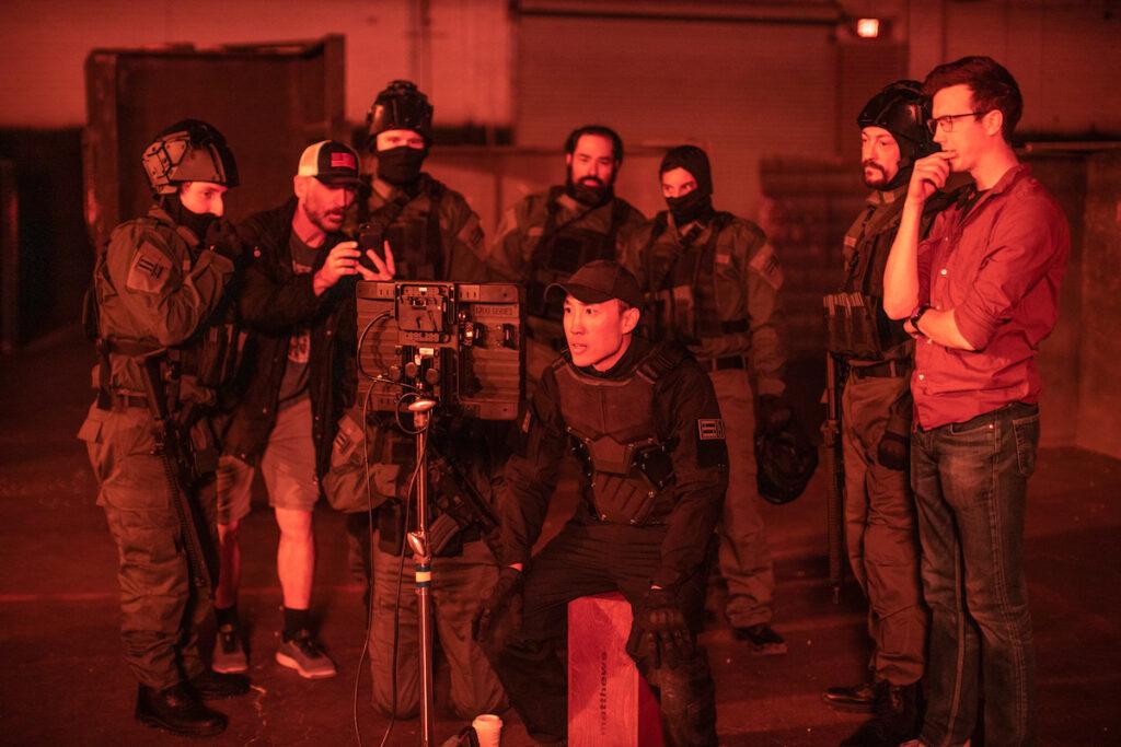 Derek Ting on the set of Agent Revelation