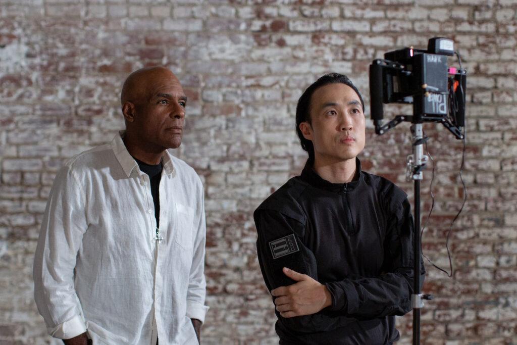 Michael Dorn and Derek Ting on the set of Agent Revelation